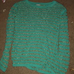Banana republic turquoise and gold knitted sweater